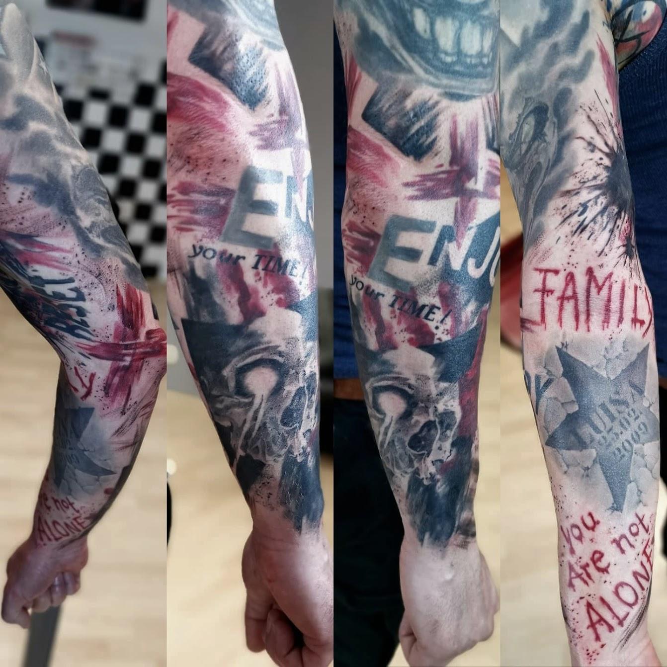 Tattoo-Blut-Arm-Typo