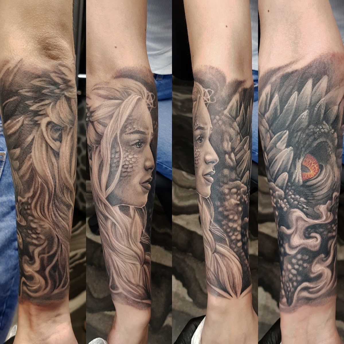 Tattoo-Drache-Portraet