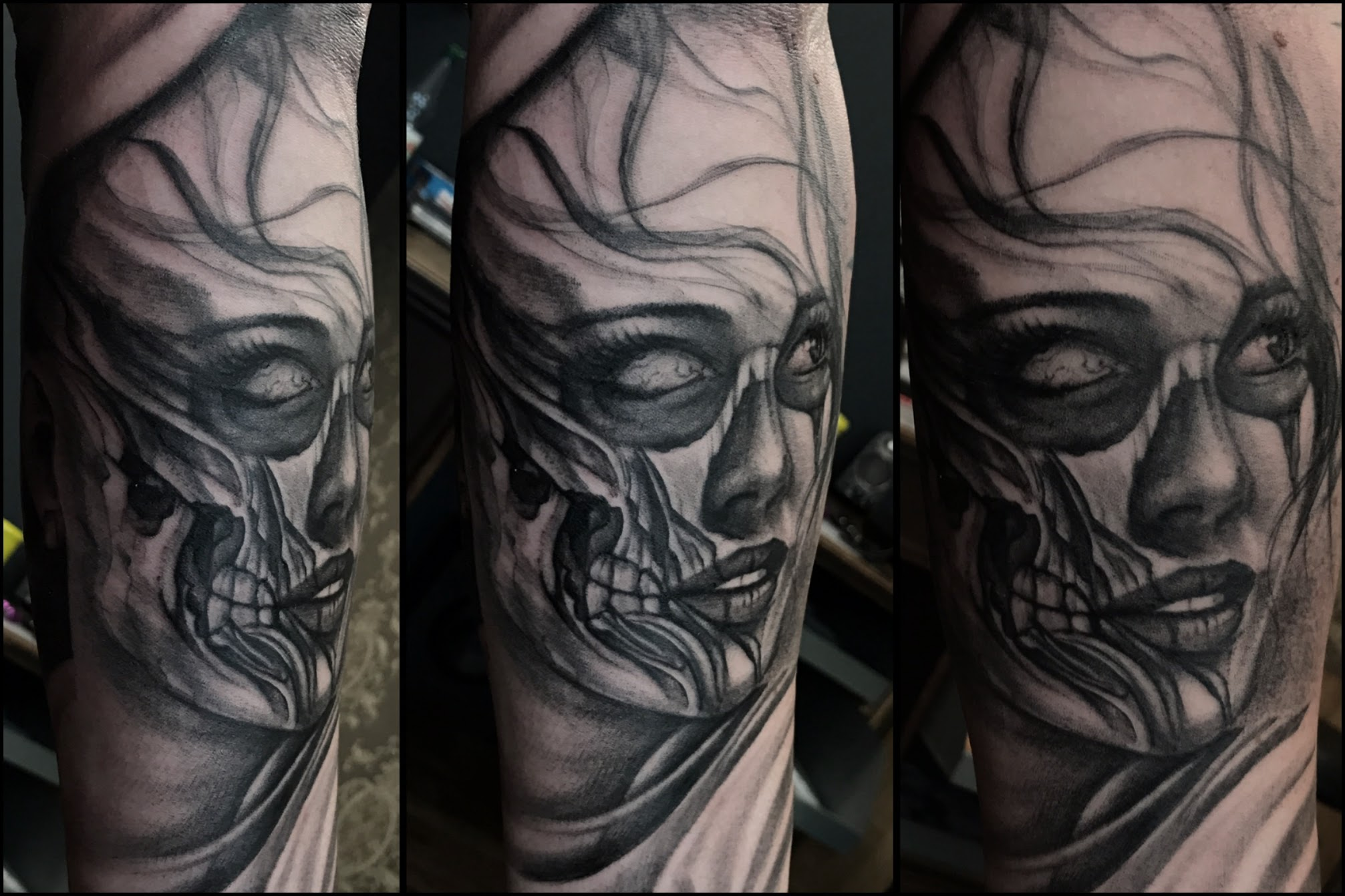 Tattoo-Gesicht-Totenkopf-Frau